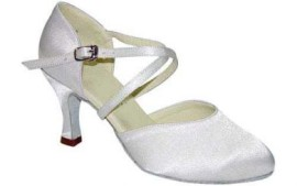 Carol - White Satin Ballroom Dance Shoe