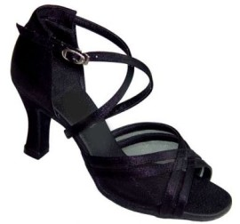 Heather - Black Satin with Black Mesh - DOUBLE NARROW - Latin or Ballroom Dance Shoe