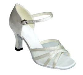 Irena-White Satin and Mesh-Latin or Ballroom Dance Shoe