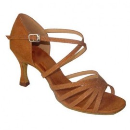 Rebe Tan Suede Double Narrow  3'Heel