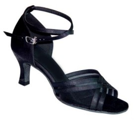 Annabelle - Black Satin/Mesh - Latin or Ballroom Dance Shoe
