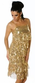 Gold Sequin Layered Dress