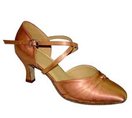 Lucinda - Dark Tan Satin Ballroom Dance Shoe