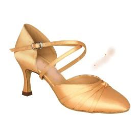 Lucinda - Tan Satin - Ballroom Dance Shoe