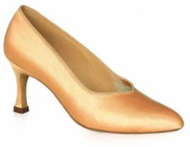 Marion - Tan Satin Ballroom Dance Shoe