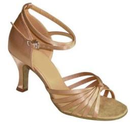 Francine - Tan Satin - Latin or Ballroom Dance Shoe